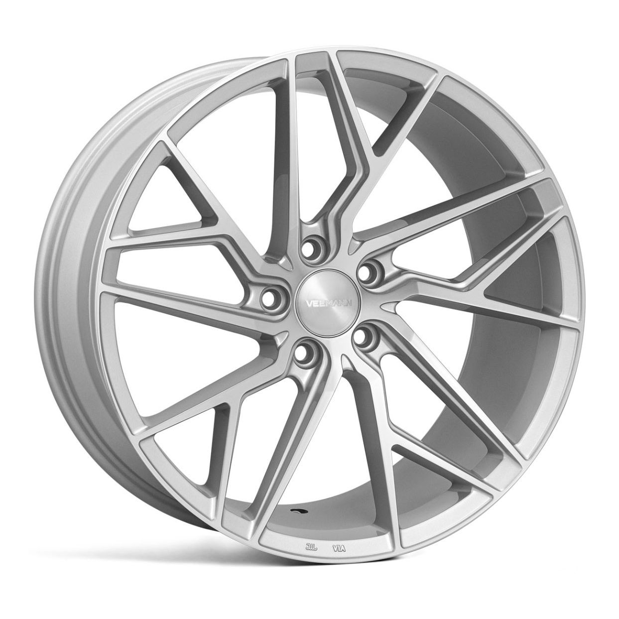 "NEW 19"" VEEMANN V-FS44 ALLOY WHEELS IN SILVER POL WITH WIDER 9.5"" REARS"